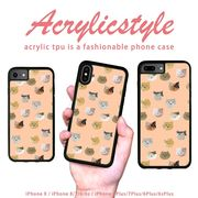 iPhone 7 8 X ケース アニマル 動物 猫 パターン 水玉