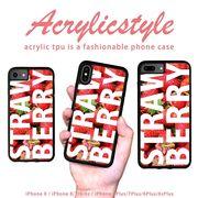 iPhone 7 8 X ケース フルーツ ロゴ イチゴ STRAWBERRY