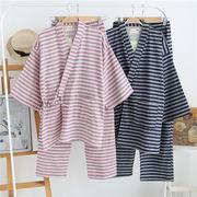 メンズ  パジャマ セットアップ ルームウエア 和風 部屋着 長袖 カップル 男女兼用 ガーゼ ボーダー 全2色