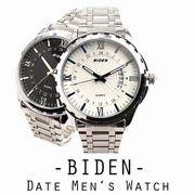 【BIDEN バイデン】日常生活防水 文字盤が美しい メタルベルトのデザインウォッチ 日付 BD005 メンズ腕時計