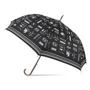 [60cm]耐風傘 婦人 傘 ジャンプ傘 レディース ロゴキャット柄