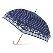 [60cm]耐風傘 婦人 傘 ジャンプ傘 レディース マリンキャット柄
