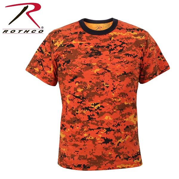 ROTHCO ロスコ 迷彩柄 半袖 Tシャツ オレンジ・ カモフラージュ柄 USA アメリカ直輸入 ミリタリーTシャツ