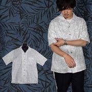【2018SS新作】麻混スラブ リーフ柄プリント オープンカラー 半袖シャツ