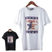 【2018SS新作】 メンズ エンボス加工 スター柄プリント Tシャツ