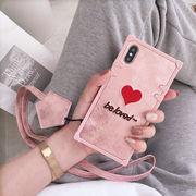 アイフォン スマホケース 携帯ケース カバー ハート 刺繍
