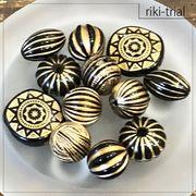 【rikiビーズトライアルパック】(ブラック×ゴールド)ヴィンテージ風 デザインビーズ アクリルビーズ