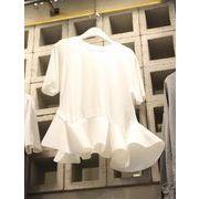 全2色 半袖Tシャツ フリル 切り替え 体型カバー ラウンドネック 丸首 無地 ファッション sweet系