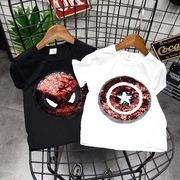 女児 半袖Tシャツ 夏 新しいデザイン 男児 児童 抖 翻 表面 スパンコール 漫画 シ