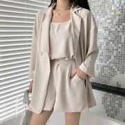 夏 新品 単一色 薄いスタイル スーツ アウターウェア + 何でも似合う ボトム キャミ