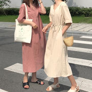 夏服 新しいデザイン 韓国風 ルース 着やせ 中長スタイル ワンピース 女 シンプル 単