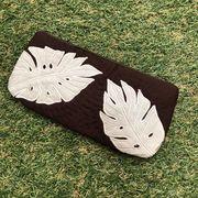 ハワイアンキルト Hawaiian Quilt リーフ柄ペンケース ブラウン/筆入れ 小物入れ ポーチ