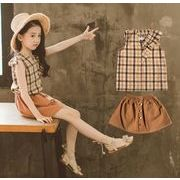 子供服 夏 セットアップ Tシャツ+スカート 女の子 2点セット カジュアル系 チェック