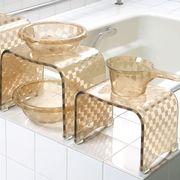 モダンな市松模様の浴用品 『チェッカー』 カフェオレ色