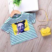 韓国風 キッズ洋服 夏服 新しいデザイン 男女 ストライプTシャツ シャツ 何でも似合う