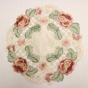 テーブルセンター薔薇のカット刺繍丸型RD