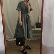 韓国風 ルース 半袖 襟 ワンピース 何でも似合う ハイウエスト 着やせ 怠惰な 風 中