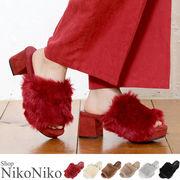 ファーサンダル 【11月初旬頃】靴 もこもこ ファー サンダル ボリューム 楽ちん
