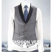 [メンズ 上質] キレイに纏め上げる秀逸ベスト。メンズ ベスト 3釦 ビジネスベスト 礼服 紳士 結婚式 披露宴
