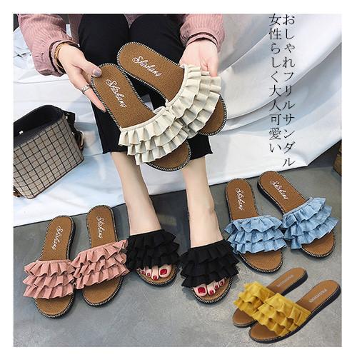 【海外買付】レディース 靴フリルサンダルレディースシューズかわいい歩きやすい夏ビーチサンダル