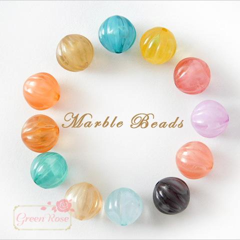 マーブルカラー♪メロンボール♪アクリルビーズ/ピアス/イヤリング/アクセサリー/材料/beads511