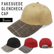 帽子 キャップ メンズ レディース ベースボールキャップ フェイクスウェード グレンチェック チェック Keys