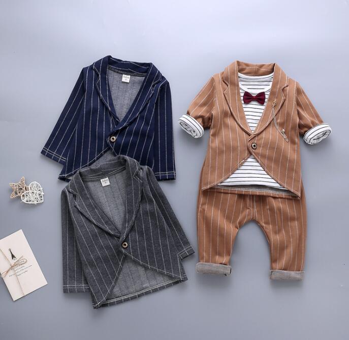 セットアップ キッズ服 ファッション 男の子 80-110 Tシャツ+コート+パンツ 3点セット