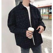 秋冬新作メンズワイシャツ チェック柄トップス おしゃれ シンプル♪グレー/ブルー/ブラック3色