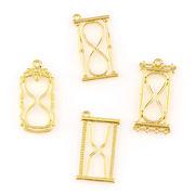 2個 空枠 砂時計 時間 ゴールド 選べる4タイプ チャーム ネックレスやストラップに レジン パーツ