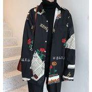 秋冬新作メンズワイシャツ 花柄トップス大きいサイズ おしゃれ キレイ目♪ブラック/ホワイト2色