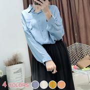 【OML】胸ポケット付きゆったり無地折り襟長袖シャツ:全4色_OML8360