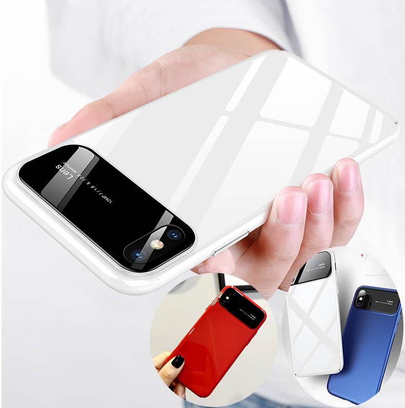 新作ガラス×PCハイブリッドケース iPhoneX 8~6 8~6plus スリム ジャケット スタイリッシュ 3色/