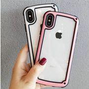 送料0★8色 縁どり シンプル クリア iPhone x iPhoneケース