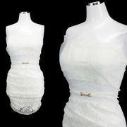 【即納】ベアトップ型 重ねレース ベルト飾り付き タイトミニドレス