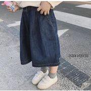 キッズパンツ ワイドパンツ 男女兼用 定番キッズジーンズ 100-130 ミディアム丈 デニムパンツ