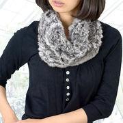 チンチラファースヌード編み込み(h-1809) レディース 女性用 毛皮 軽い ニット リアルファー