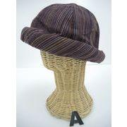 色掛けの為SALE【新作】可愛いパイピング帽子♪ナチュラル彩色絣、ハンドクラフト木綿ハット♪1040