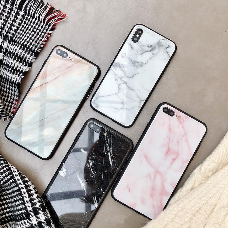 iPhone7/8+10Xケース マーブル柄スマホケース ガラス携帯カバー