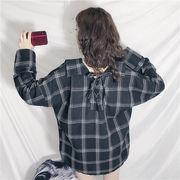 秋冬新商品730025 大きいサイズ 韓国 レディース ファッション ワンピース チェック柄 シャツ