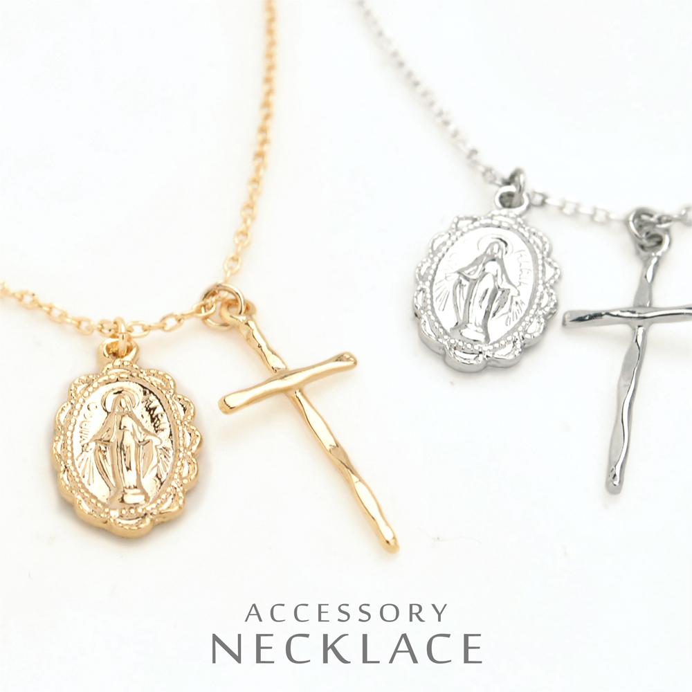 ▼MAGGIO▼【人気のデザイン】愛に満ち溢れてる。聖母マリア&クロスネックレス