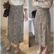 #207985# スカート 切り替え バイカラー スリット スリム レオパード柄 シンプル