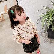 キッズ  Tシャツ 花柄 セーラーカラー プリンセス 長袖 可愛い 女の子  SALE 子供服  kids
