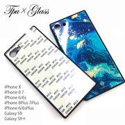 TPU 背面ガラス DIY 高品質 iPhone 8 ケース  galaxy 9 + Plus ケース スマホケース
