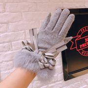 秋冬新品 レディースファッション 手袋 グローブ リボン 蝶結び カワイイ タッチパネル対応 防寒