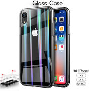 新iPhone XS/MAX XR ガラス×TPUハイブリッドケース【5点セット】 バンパー レンズ保護 軽量 6色/