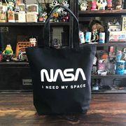NASA公認トートバッグ・ロゴタイプ(ワーム)・ブラック