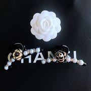 定形外773468】カメリア 椿の花 バラ 薔薇 camellia coco NO5 真珠付 ヘアクリップ パールパーツ ヘアピン