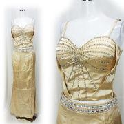 【即納】胸元ビーズ刺繍 艶サテン 上下セパレート型 ロングドレス