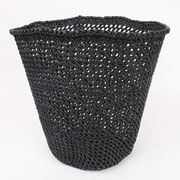 イリンガバスケット透かし編み 黒無地 バケツ型 L