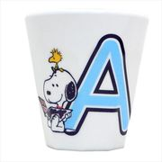 【メラミンカップ】スヌーピー/イニシャルコップ/アルファベット A